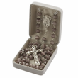 6mm Imitation White Cloisonne Beads and Madonna Center Rosary