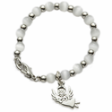 4mm White Pearl Beads Baby Bracelet with Angel Charm