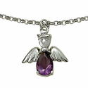 Sterling Silver February  Amethyst Birthstone Angel Bracelet