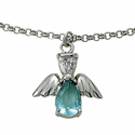 Sterling Silver March Aquamarine Birthstone Angel Wing Bracelet