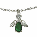 Sterling Silver May Emerald Birthstone Angel Wing Bracelet