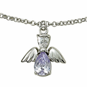 Sterling Silver June Alexandrite Birthstone Angel Wing Bracelet