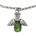 Sterling Silver August Peridot Birthstone Angel Wing Bracelet