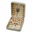 6mm White Cats Eye Beads and Miraculous Center Rosary