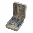 """7mm Crystal Blue """"Our Father""""  Beads and Miraculous Center Rosary"""