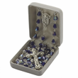 5mm Blue Crystal Beads and Madonna Center Rosary