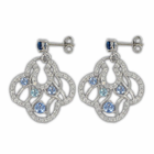 Sterling Silver Round Cross Earrings with Sapphire CZ Stones