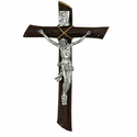 """9"""" Resin Wall Crucifix with Silver Corpus"""