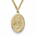 """14K Gold Filled Oval St. Christopher Medal on 18"""" Chain"""