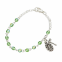 3mm August Peridot Birthstone Rosary Beads Bracelet with Miraculous and Crucifix Charms