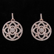 """7/8"""" Round Rose Gold Plated CZ Pave Crystal Stone Earrings"""