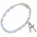 3mm December Turqoise Birthstone Rosary Beads First Communion Bracelet  with Chalice and Crucifix Charms