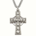 """Sterling Silver Engraved Celtic Cross Necklace on 24"""" Chain"""
