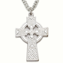 """Sterling Silver Celtic Cross Necklace on 24"""" Chain"""