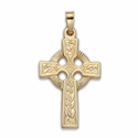 "1"" 14K Gold Celtic Knot Cross Pendant"