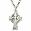 """Sterling Silver Celtic Cross Necklace with Green Enamel on 18"""" chain"""