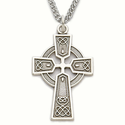 Sterling Silver Celtic Cross Necklace on a 24 Inch Sturdy Stainless Steel Rhodium Finish Chain