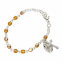 3mm November Topaz Birthstone Rosary Beads Bracelet with Miraculous and Crucifix Charms