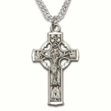 """Sterling Silver Engraved Celtic Crucifix Necklace on 20"""" Chain"""