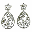 Sterling Silver Starfish Post Earrings with Crystal CZ Stones