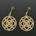 """7/8"""" Round 24K Gold Plated CZ Pave Crystal Stone Earrings"""