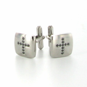 Stainless Steel Cross Cufflinks with Black CZ Stones