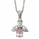"""Sterling Silver October Rose Birthstone Angel Wing Necklace on 18"""" Chain"""