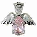 Sterling Silver October Rose Birthstone Angel Wing Pin