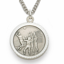 """Sterling Silver Girl's Volleyball Medal, St. Christopher on Back on 18"""" Chain"""