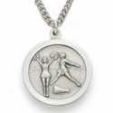 """Sterling Silver Cheerleading Medal, St. Christopher on Back on 18"""" Chain"""