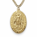 "14K Gold over Sterling Silver Oval St. Michael Medal on 20"" Chain"