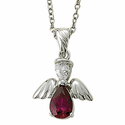 """Sterling Silver July Ruby Birthstone Angel Wing Necklace on 18"""" Chain"""