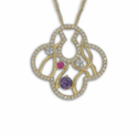24K Gold /Sterling Silver Round Cross Necklace w/ Amethyst CZ Stones