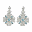 Sterling Silver Iron Cross Earrings  w/ Crystal CZ Stones & Aqua Accents