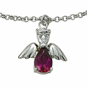 Sterling Silver July Ruby Birthstone Angel Wing Bracelet