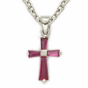 "Sterling Silver July Ruby Birthstone Baby Cross Necklace on 13"" Chain"