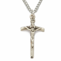 Sterling Silver Papal Style Crucifix on 18 Inch Chain