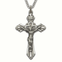 Sterling Silver Crucifix Necklaces in a Diamond Engraved Scroll Ends Design