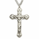 """Sterling Silver Crucifix Necklace in a Satin Finish  w/ Clover Ends on 24"""" Chain"""