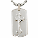 "Sterling Silver Crucifix Dog Tag on 22"" Bead Chain"