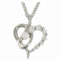 """Sterling Silver Rhodium Finish Heart Necklace with Crystal CZ Stones in a Twisted Design on 18"""" Chain"""