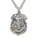 "Sterling Silver Engraved St. Michael Police Shield Medal, Patron of Police Officers on 18"" Chain"