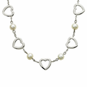 Sterling Silver Heart Necklace with Freshwater Pearls