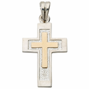 Sterling Silver Crosses with 14K Gold Accents