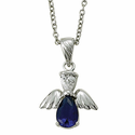 """Sterling Silver September Sapphire Birthstone Angel Necklace on 18"""" Chain"""