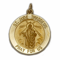 """3/4"""" 14K Gold Large Round St. Jude Medal, Patron of Hopeless Causes"""