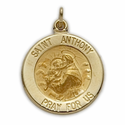 """5/8"""" 14K Gold Round St. Anthony Medal, Patron of Lost Articles"""