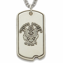 "Sterling Silver U.S. Army Dog Tag St. Michael on Back on 24"" Chain"