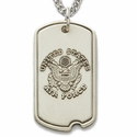 "Sterling Silver U.S. Air Force Dog Tag, St. Michael on Back on 24"" Chain"