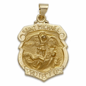 1-1/8 Inch 14k Gold Large Shield St. Michael Medal, Patron Of Police Officers (Hollow Medal)